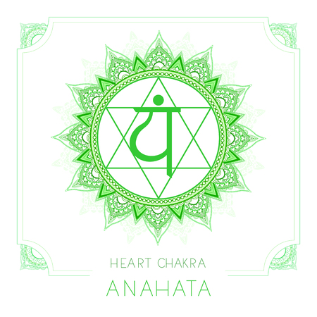 Vector illustration with symbol Anahata - Heart chakra and decorative frame on white background. Round mandala pattern and hand drawn lettering. Colored. Illustration