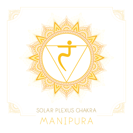 Vector illustration with symbol Manipura - Solar Plexus chakra and decorative frame on white background. Round mandala pattern and hand drawn lettering. Colored.