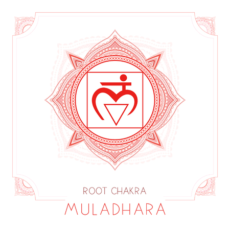 Vector illustration with symbol Muladhara - Root chakra and decorative frame on white background. Round mandala pattern and hand drawn lettering. Colored.