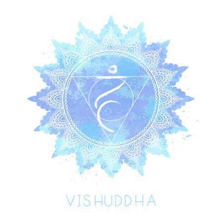 Vector illustration with symbol chakra Vishuddha and watercolor element on white background. Circle mandala pattern and hand drawn lettering. Colored.