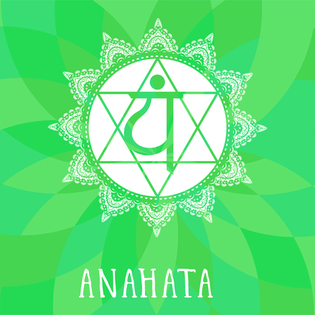 Vector illustration with symbol chakra Anahata on abstract background. Circle mandala pattern and hand drawn lettering. Multicolor.