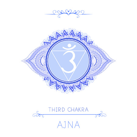 Vector illustration with symbol chakra Ajna - Third Eye chakra and decorative elements on white background. Round mandala pattern and hand drawn lettering. Colored. Illustration