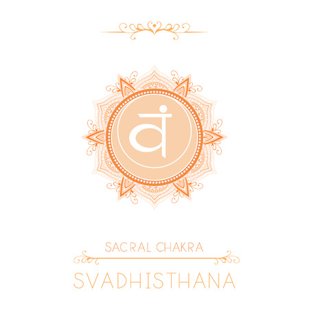 Vector illustration with symbol Svadhishana - Sacral chakra and decorative elements on white background. Round mandala pattern and hand drawn lettering. Colored. Stock Illustratie