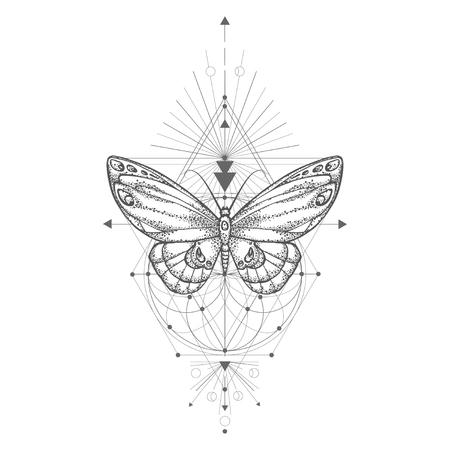 Illustrazione vettoriale con farfalla disegnata a mano e simbolo geometrico sacro su priorità bassa bianca. Segno mistico astratto. Forma lineare nera. Per il tuo disegno, tatuaggio o artigianato magico. Vettoriali