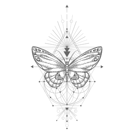 Vectorillustratie met hand getrokken vlinder en heilige geometrische symbool op witte achtergrond. Abstracte mystieke teken. Zwarte lineaire vorm. Voor je ontwerp, tatoeage of magische ambacht. Vector Illustratie