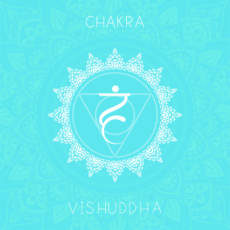 Vector illustration with symbol chakra Vishuddha on ornamental background. Round mandala pattern and hand drawn lettering. Colored.