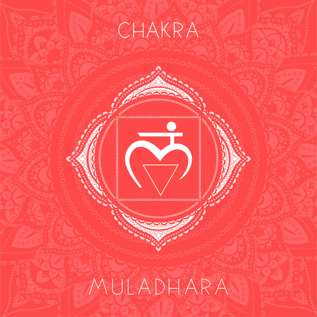 Vector illustration with symbol chakra Muladhara on ornamental background. Round mandala pattern and hand drawn lettering. Colored.
