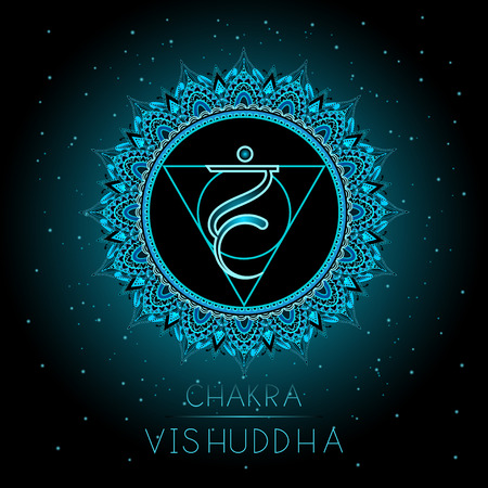 Vector illustration with symbol Vishuddha - Throat chakra on black background. Round mandala pattern and hand drawn lettering. Colored. Illustration
