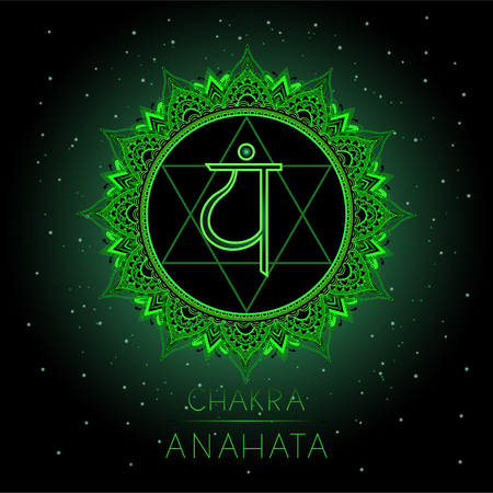Vector illustration with symbol Anahata - Heart chakra on black background. Round mandala pattern and hand drawn lettering. Colored.