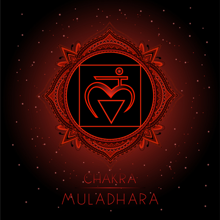 Vector illustration with symbol Muladhara - Root chakra on black background. Round mandala pattern and hand drawn lettering. Colored. Illustration