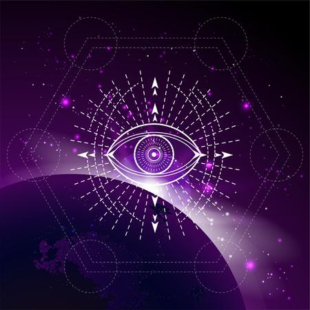 Illustration vectorielle du symbole mystique Eye sur le fond de l'espace avec le lever du soleil et les étoiles. Signe géométrique abstrait dessiné en lignes. Multicolore. Vecteurs