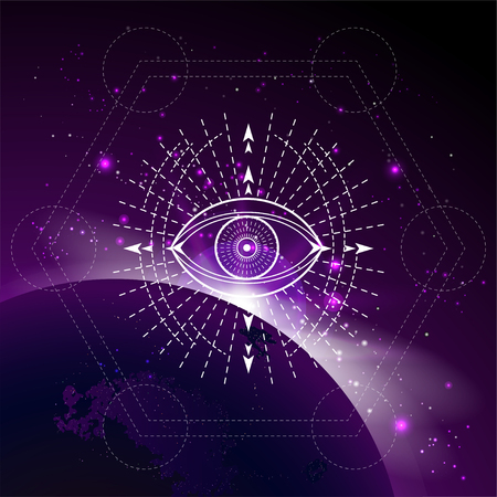 Vector illustration of mystic symbol Eye against the space background with sunrise and stars. Abstract geometric sign drawn in lines. Multicolored. Vektoros illusztráció