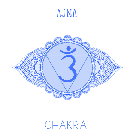 Vector illustration with symbol chakra Ajna on white background. Circle mandala pattern and hand drawn lettering.