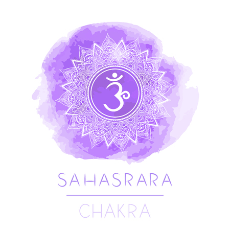 Vector illustration with symbol chakra Sahasrara and watercolor element on white background. Circle mandala pattern and hand drawn lettering. Colored. Ilustração