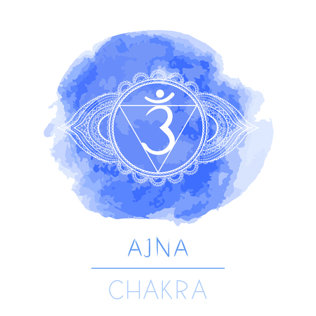 Vector illustration with symbol chakra Ajna and watercolor element on white background. Circle mandala pattern and hand drawn lettering. Colored.