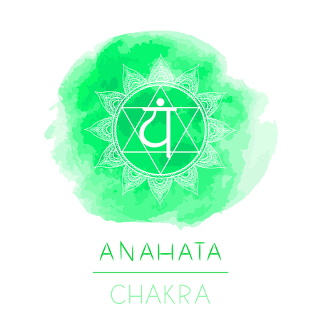 Vector illustration with symbol chakra Anahata and watercolor element on white background. Circle mandala pattern and hand drawn lettering. Colored. Ilustração
