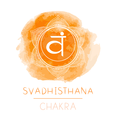 Vector illustration with symbol chakra Svadhishana and watercolor element on white background. Circle mandala pattern and hand drawn lettering. Colored.