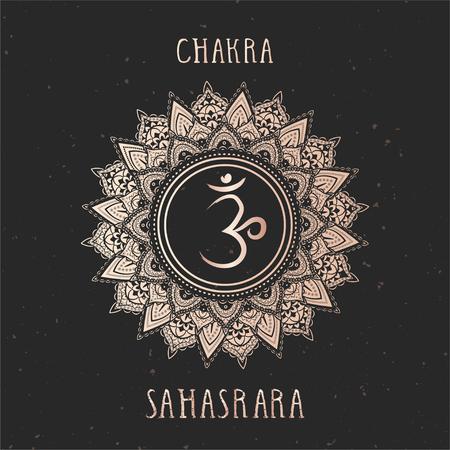 Vector illustration with gold symbol chakra Sahasrara on dark background. Round mandala pattern and hand drawn lettering.