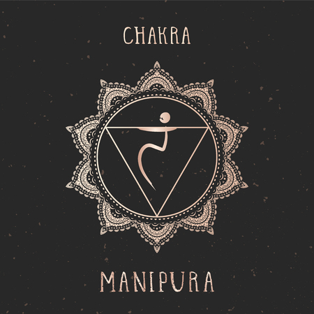 Vector illustration with gold symbol chakra Manipura on dark background. Round mandala pattern and hand drawn lettering.