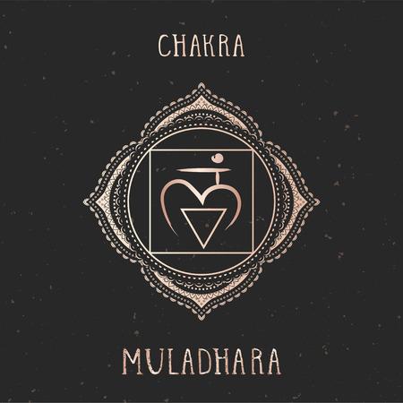 Vector illustration with gold symbol chakra Muladhara on dark background. Round mandala pattern and hand drawn lettering.