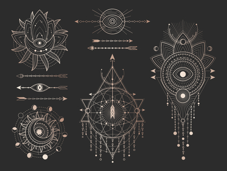 Vector set of Sacred geometric symbols and figures on black background. Gold abstract mystic signs collection drawn in lines. For you design: tattoo, print, posters, t shirts, textiles and magic craft Archivio Fotografico - 121234054