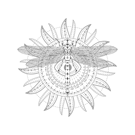 Vector illustration with hand drawn dragonfly and Sacred symbol on white background. Abstract mystic sign. Black linear shape. For you design, tattoo or magic craft.