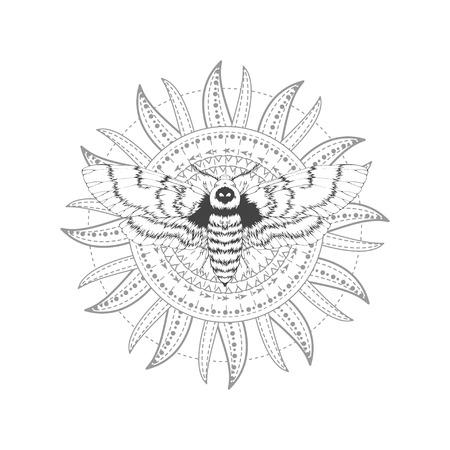 Vector Illustration mit Hand gezeichneter toter Kopfmotte und heiligem Symbol auf weißem Hintergrund. Abstraktes mystisches Zeichen. Schwarze lineare Form. Für Sie Design, Tattoo oder Zauberhandwerk.
