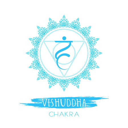 Vector illustration with symbol Vishuddha - Throat chakra and watercolor element on white background. Circle mandala pattern and hand drawn lettering. Colored.