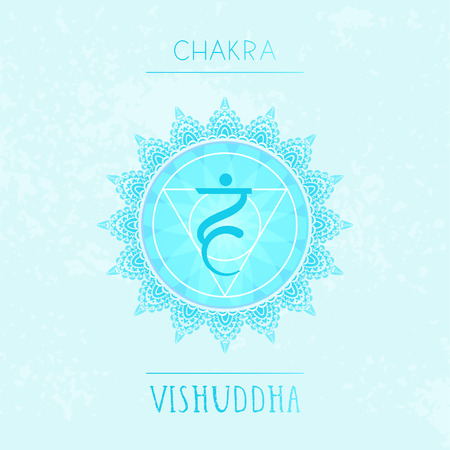 Vector illustration with symbol chakra Vishuddha on watercolor background. Circle mandala pattern and hand drawn lettering. Coloredr. Illustration