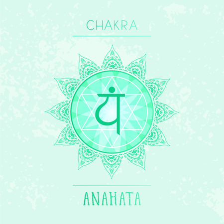 Vector illustration with symbol chakra Anahata on watercolor background. Circle mandala pattern and hand drawn lettering. Multicolor.