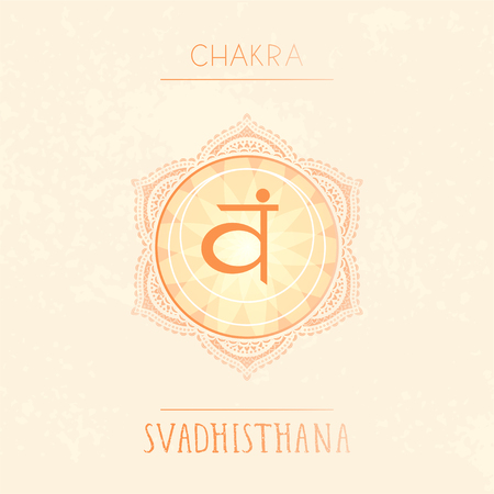Vector illustration with symbol chakra Svadhishana on watercolor background. Circle mandala pattern and hand drawn lettering. Colored. Illustration