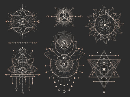 Vector set of Sacred geometric symbols and figures on black background. Gold abstract mystic signs collection drawn in lines. For you design: tattoo, print, posters, t shirts, textiles and magic craft Vetores