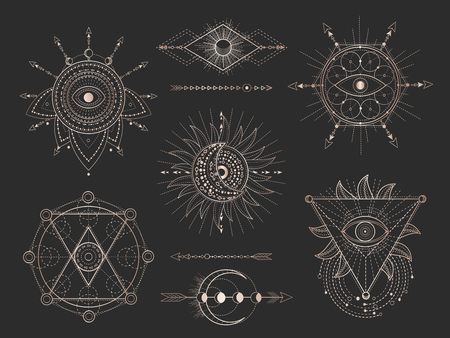 Insieme di vettore dei simboli geometrici sacri e figure su sfondo nero. Collezione di segni mistici astratti d'oro disegnata in linee. Per il tuo design: tatuaggi, stampe, poster, magliette, tessuti e oggetti magici