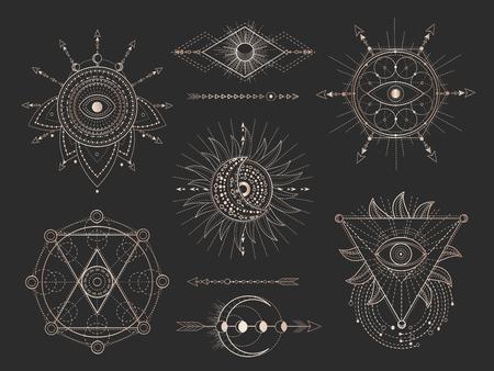 Vector conjunto de figuras y símbolos geométricos sagrados sobre fondo negro. Colección de signos místicos abstractos dorados dibujados en líneas. Para tu diseño: tatuaje, impresión, carteles, camisetas, textiles y artesanía mágica.
