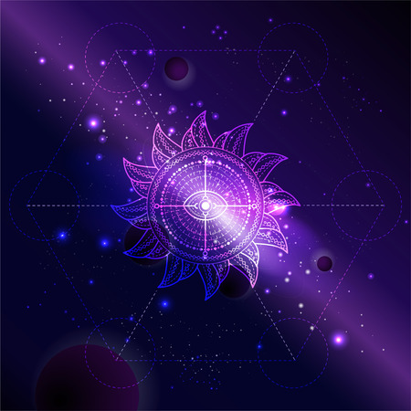 Vector illustration of Sacred symbol Sun against the space background with galaxy and stars. Abstract geometric sign drawn in lines. Multicolored.