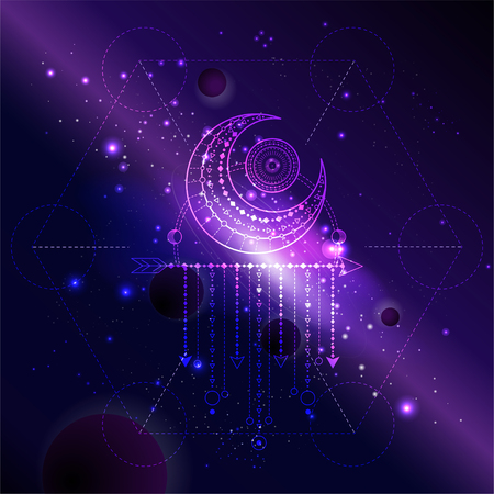 Vector illustration of Sacred or mystic symbol against the space background with galaxy and stars. Abstract geometric sign drawn in lines. Multicolored.