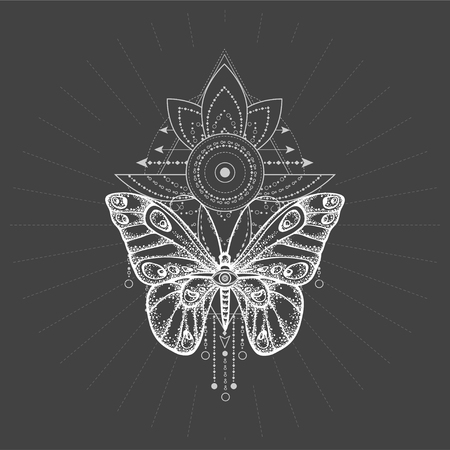 Illustration vectorielle avec papillon dessiné à la main et symbole géométrique sacré sur fond noir. Signe mystique abstrait. Forme linéaire blanche. Pour votre conception, tatouage ou artisanat magique.