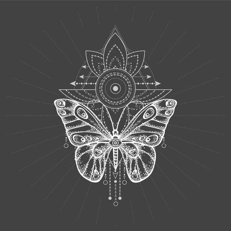 Ilustración de vector con mariposa dibujada a mano y símbolo geométrico sagrado sobre fondo negro. Signo místico abstracto. Forma lineal blanca. Para tu diseño, tatuaje o artesanía mágica.