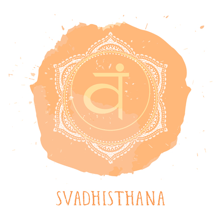 Vector illustration with symbol Svadhishana - Sacral chakra and watercolor element on white background. Circle mandala pattern and hand drawn lettering. Colored.