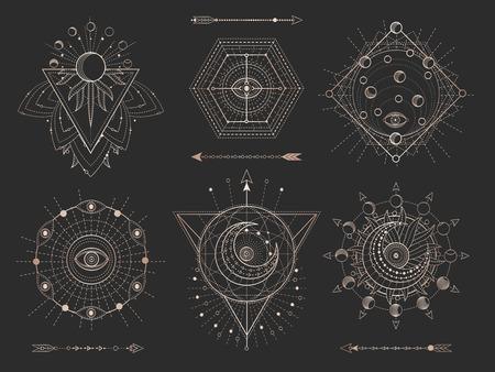 Vector conjunto de figuras y símbolos geométricos sagrados sobre fondo negro. Colección de signos místicos abstractos dorados dibujados en líneas. Para tu diseño: tatuaje, impresión, carteles, camisetas, textiles y artesanía mágica. Ilustración de vector