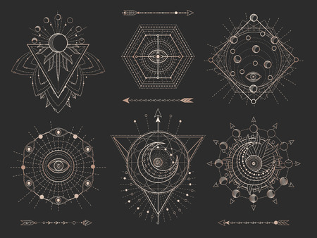 Vector set of Sacred geometric symbols and figures on black background. Gold abstract mystic signs collection drawn in lines. For you design: tattoo, print, posters, t shirts, textiles and magic craft Vectores
