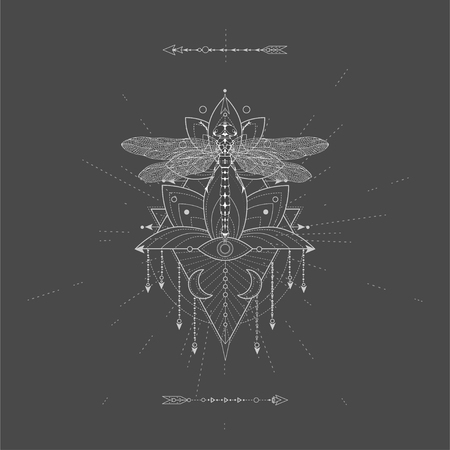 Vector illustration with hand drawn Dragonfly and Sacred geometric symbol on black background. Abstract mystic sign. White linear shape. For you design, tattoo or magic craft.