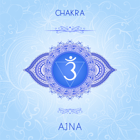 Vector illustration with symbol chakra Ajna on ornamental background. Round mandala pattern and hand drawn lettering. Colored.