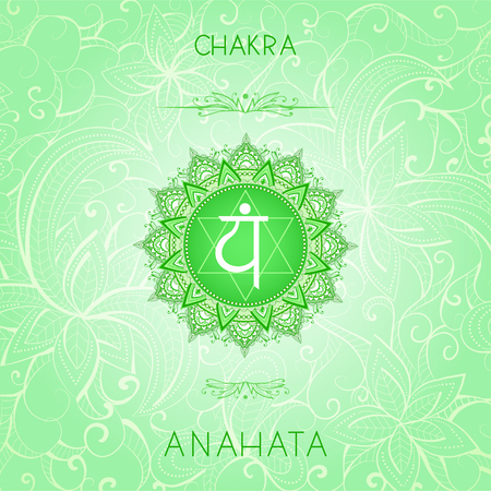 Vector illustration with symbol chakra Anahata on ornamental background. Round mandala pattern and hand drawn lettering. Colored. Illustration