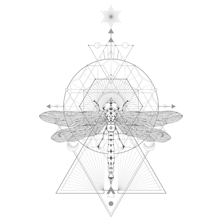 Vector illustration with hand drawn dragonfly and Sacred geometric symbol on white background. Abstract mystic sign. Black linear shape. For you design: tattoo, print, posters, t-shirts, textiles and magic craft. 版權商用圖片 - 121234253