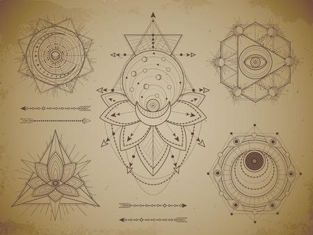 Ensemble de vecteurs de symboles géométriques sacrés et de figures sur fond grunge de vieux papier. Collection de signes mystiques abstraits dessinés en lignes. Pour vous concevez : des imprimés, des affiches, des t-shirts, des textiles et de l'artisanat magique.