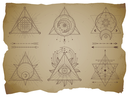 Vector set of Sacred triangle symbols and mystic figures on old paper background with torn edges. Abstract mystic signs collection drawn in lines. For you design and magic craft.