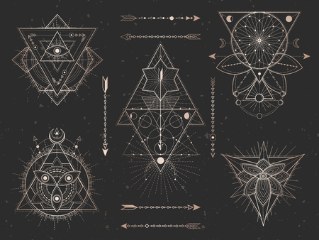 Vector set of Sacred triangle symbols and mystic figures on black grunge background. Gold abstract signs collection drawn in lines. For you design and magic craft.