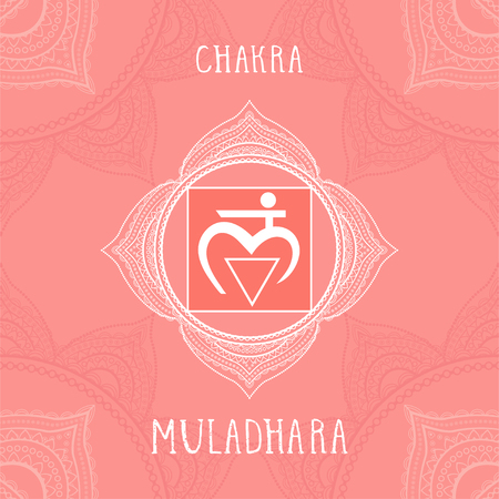 Vector illustration with symbol Muladhara - Root chakra on ornamental background. Circle mandala pattern and hand drawn lettering. Colored.