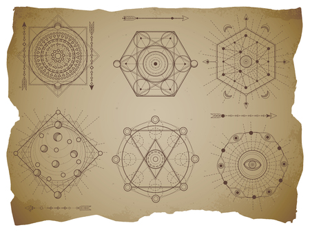 Vector set of Sacred geometric symbols on old paper background with torn edges. Abstract mystic signs collection drawn in lines. For you design: print, posters, t shirts, textiles and magic craft. Vektorové ilustrace